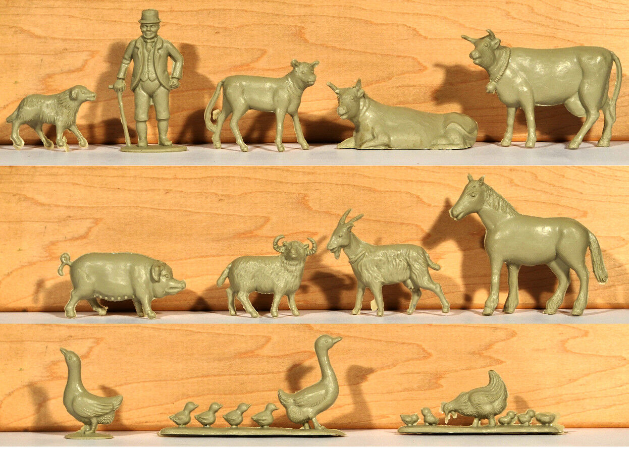Charbens Recasts - 12-pc Farm Set - 54mm unpainted plastic