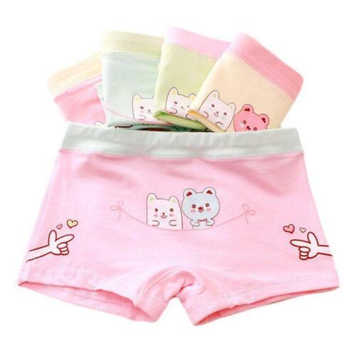 Kids Girls Cotton Underwear Panties Cartoon Bear Printed Boxer Briefs Boyshorts