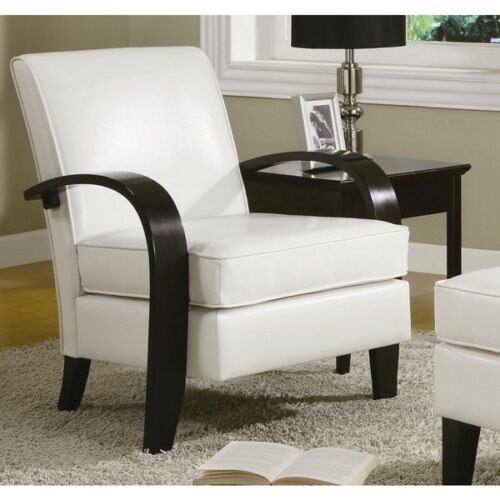 Leather Accent Chair White Contemporary Dining Wood Living Room Lounge Furniture Ebay