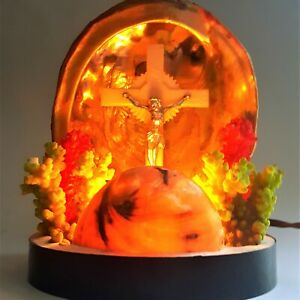 Abalone-Sea-Shells-Coral-TV-Lamp-Crucifix-Kitsch-Vintage-1960s-Mid-Century-MCM