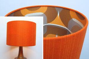 Retro-Lampshade-Original-60s-70s-Fabric-30cm-40cm-Drum-Orange
