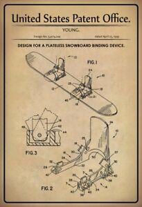 US Patent Snowboard Binding 1995 Tin Sign Shield 20 X 30 CM
