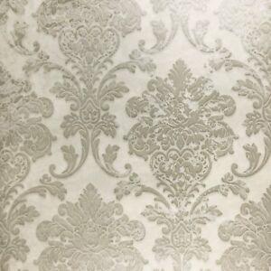 Vinyl Wallpaper off white gray Metallic Textured vintage rustic Damask rolls 3D Wallpaper Rolls & Sheets Building & Hardware
