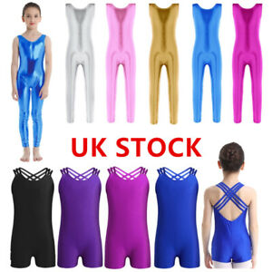 UK-Kid-Girls-Gymnastics-Ballet-Dance-Leotard-Jumpsuit-Sleeveless-Dancewear-Cloth