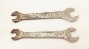 Vtg Renault open end metric wrench 8-10mm 9-12mm old auto car factory tools
