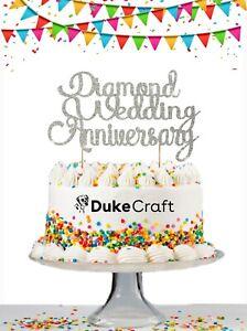 60th Wedding Anniversary Cake Topper Glitter Diamond Anniversary