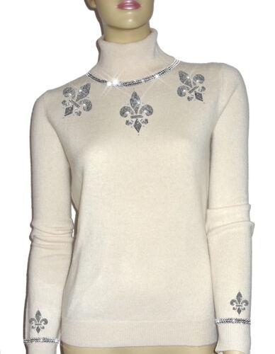 Cashmere Luxe Crystal s Hvid Cardigan 34 Størrelse Knit Diamond Oh` Xs Dor 100 rCxrqt