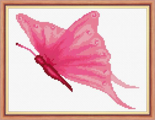 "14 Count Aida Anchor Pink Butterfly Mini//Starter Cross Stitch Kit 6/"" x 8/"""