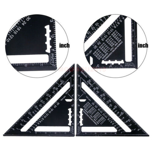 12/'/' Aluminum Alloy Triangle Angle Protractor Speed Square Measuring Ruler Miter