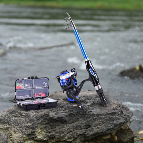 Blusea 1.3m Telescopic Fishing Rod Fish Pole Spinning Reel Combo with Hook /& Bag