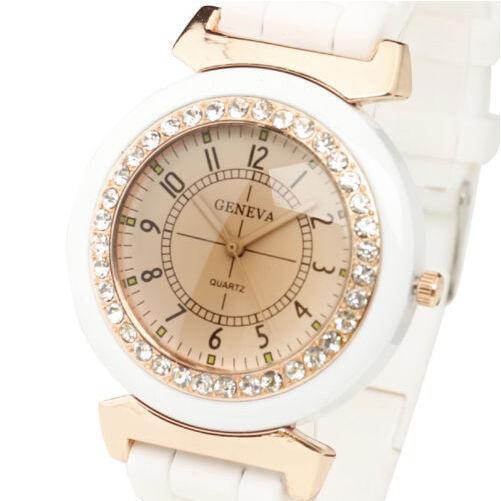 Hot Geneva White Women's Girl Rhinestone Silicone Strap Band Quartz Wrist Watch