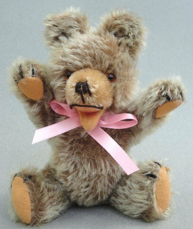 Hermann Germany Zotty Teddy Bear Tipped Mohair Plush 20cm 8in c1960s Glass Eyes