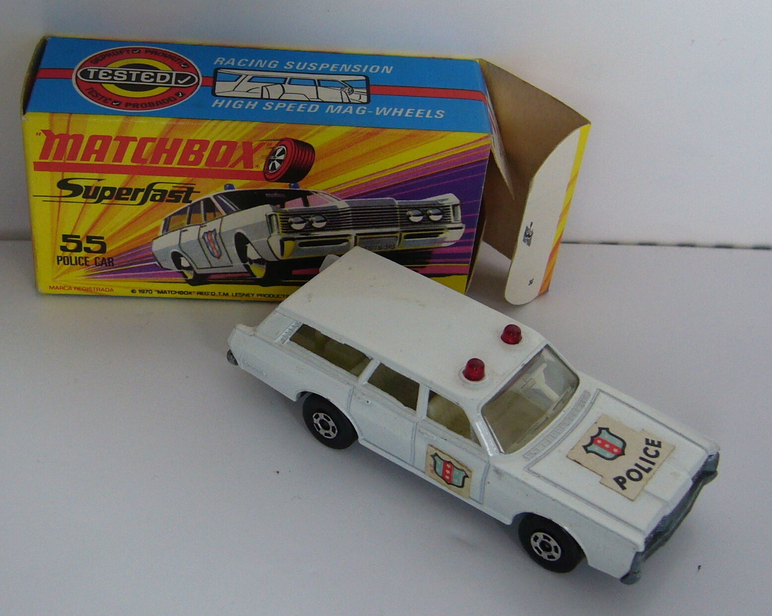 Matchbox-Superfast-MB 55 Police Car with Crest White bluee-Original Packaging
