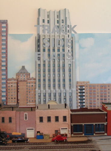 #230 N scale background building flat FIRST NATIONAL TOWER   *FREE SHIPPING*