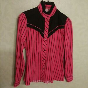 KENNY-ROGERS-Western-Collection-by-Karman-Cowgirl-Plaid-Pearl-Snap-Shirt-S-Women