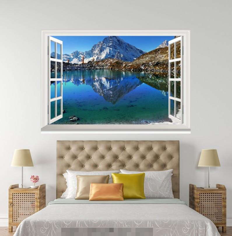 3D Snow Mount Shadow 0056 Open Windows WallPaper Wandbilder Wall Print AJ Jenny