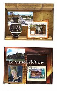 Guinea-2-Blocks-Mounted-On-Sheet-Museum-D-039-Orsay-Museum-Of-Louvre-SP63