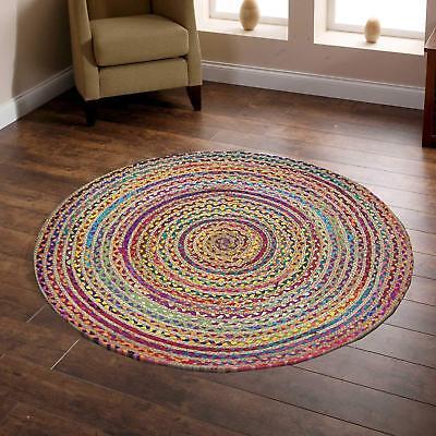 Round Braided Jute /& Cotton Natural Outdoor Bohemian Area Rugs Floor Mat Carpet