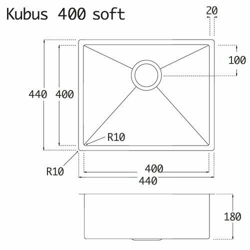 Edelstahl Spüle Lavabo Kubus 400 Soft gebürstet Küchenspüle Spülbecken