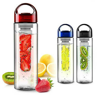 700ml Sports Outdoor Water Bottle with Fruit Juice Infuser & Handle BPA Free NEW