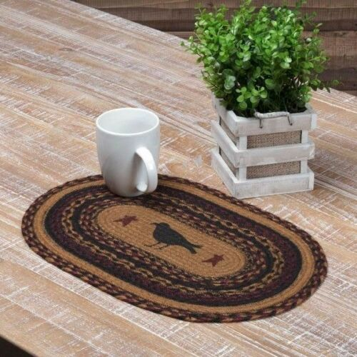 HERITAGE FARMS CROW Jute Oval Placemat Set//2 Braided Primitive Stencil Star