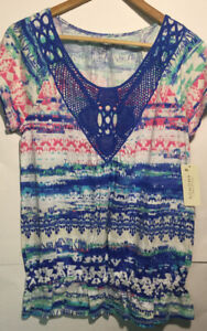 Sonoma-Womens-Raleigh-Blue-410-Messes-Sonoma-Top-Short-Sleeve-Size-Small