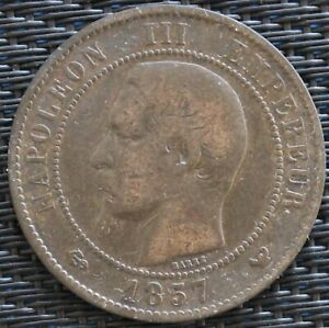 FRANCE-10-CENTIMES-NAPOLEON-III-1857-W-F-133