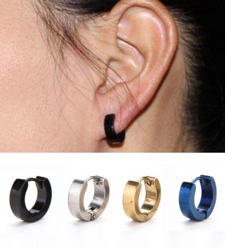 1Pair Mens Stainless Steel Hoop Piercing Ear Earring Studs Jewelry  @M