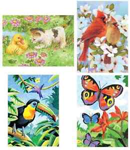 4 X A5 Colour Pencil By Numbers Kits Birds Butterfly Kitten