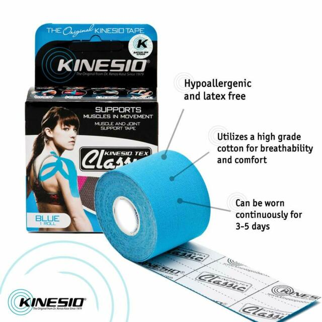 KINESIO Tape 5cm by 2m BLUE Kinesiology Tape for Injuries /& Support