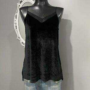 Small-FREE-PEOPLE-Black-Velvet-Cami-Blouse-Top-Spagetti-Straps