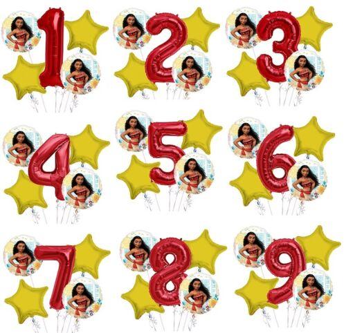 "Set of 5 Bouquet Moana Balloons 34/"" Number Balloon"