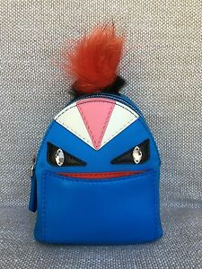 BNIB Authentic Fendi Mini Blue Monster Backpack Bag Charm Key Chain ... 4c7d6490a9816