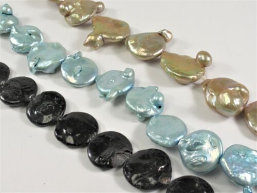 EB-01 Light Blue OR Champagne Flat Coin Genuine Pearl Bead 19-21mm Large Black