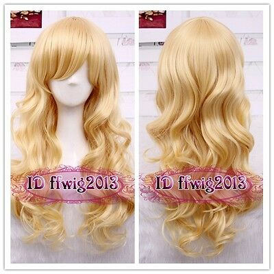"60CM/24"" Long wave curly Cosplay Fashion Wig heat resistant 6colors +A wig cap"