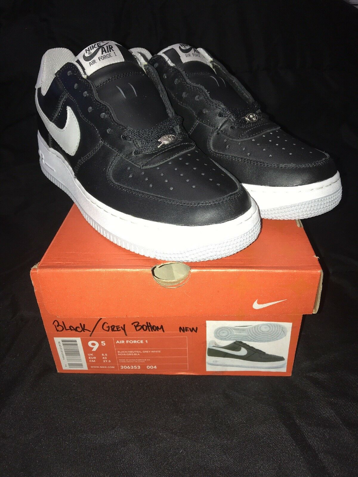 NIKE Air Force 1 Black/Neutral Grey-White US Mens Price reduction The latest discount shoes for men and women