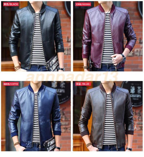 e9339ba2a Men's PU Leather Jacket Biker Motorcycle Black Coat Slim Fit Outwear Jackets