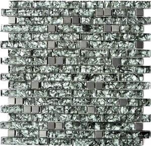Glasmosaik Stahl Grun Grau Mix Wand Kuchenruckwand Bad Wc Art Wb87