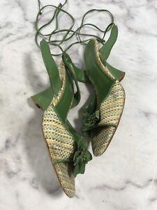 Fioni-Womens-Size-6-Green-Weave-Wedge-Sandals-Ankle-Tie-Strap-Open-Toe-Dress