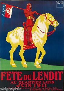FÊTE DU LENDIT, 1911 Vintage Advertising Giclee Canvas Print 20x28