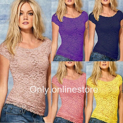 Women's Lace Floral Short Sleeve Sheer Vest Tank Tops Tee T-Shirt Blouse S-XXL