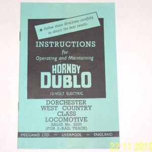 ORIGINAL-HORNBY-DUBLO-3-RAIL-INSTRUCTIONS-3235-DORCHESTER-WEST-COUNTRY-LOCO