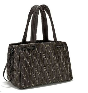 NEW Victoria's Secret Glam Rock Quilted Travel Tote Black Studded ... : quilted travel tote - Adamdwight.com