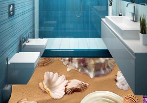 3D golden Beach Shell 8 Floor Wall Paper Murals Wall Print AJ WALLPAPER UK Lemon