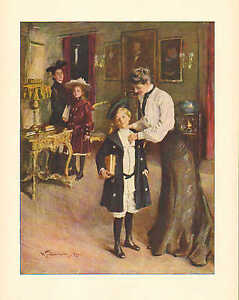 Off To School, by W T  Smedley, Student, Mother, Vintage 1908