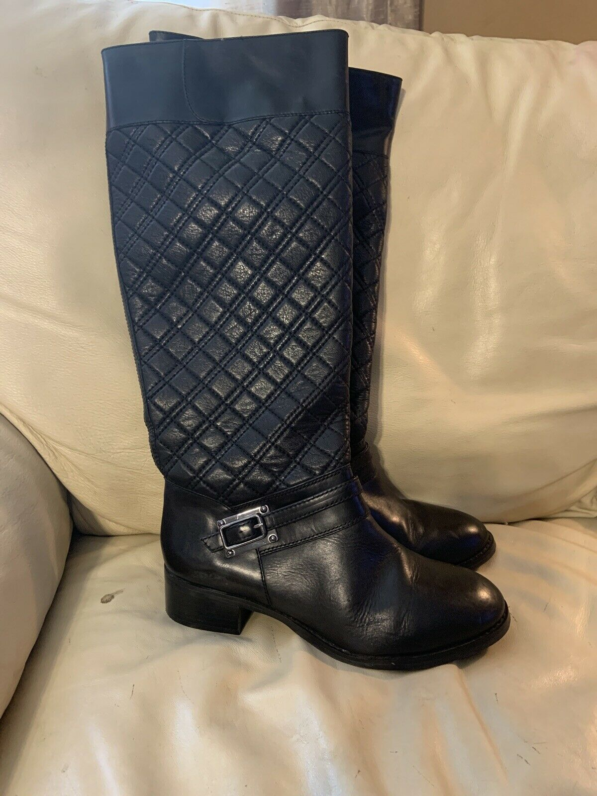 Black Quilted Top Leather Boot By Alex Marie Size 8.5 M
