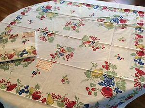 NEW-Vintage-Style-Cotton-40-039-s-50-039-s-Tablecloth-VINTAGE-FRUIT-52-034-Square