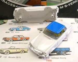 1960s-Foreign-Faller-Mercedes-230SL-Slot-Car-Body-Wh-Bl