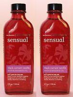 2 Bath & Body Works Aromatherapy Sensual Black Currant Vanilla Bath Massage Oil