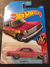 2017 Hot Wheels CUSTOM Pink 63 Chevy II with Real Riders